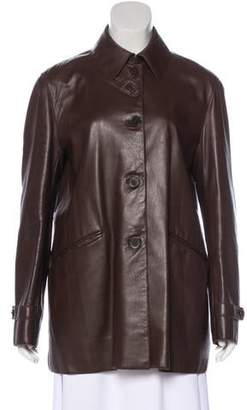 Ralph Lauren Purple Label Leather Long Sleeve Jacket