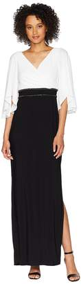 Adrianna Papell Elbow Sleeve V-Neck Jersey Color Block Gown Women's Dress