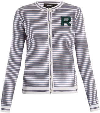 Rochas Logo-patch striped cotton cardigan
