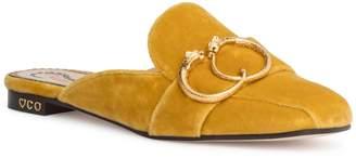 Charlotte Olympia Yellow 20 velvet mule flats