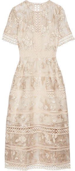 Zimmermann - Lace-trimmed Embroidered Silk-organza Midi Dress - Off-white