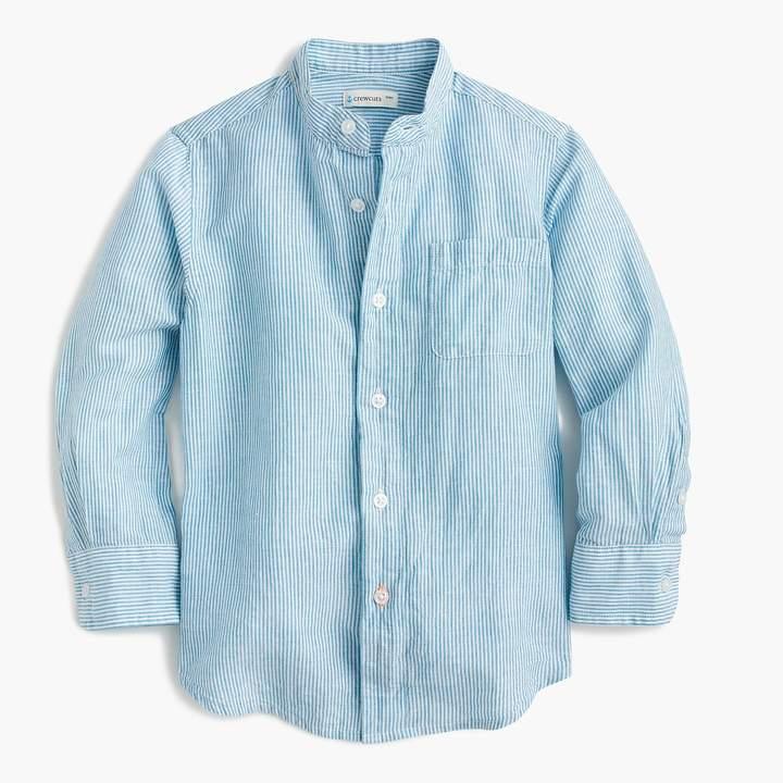 Kids' band collar shirt in cotton-linen