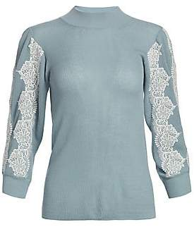 See by Chloe Women's Three-Quarter Sleeve Lace Knit Sweater