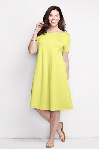 Lands' End Women's Plus Size Knit Scoop Back T-shirt Dress