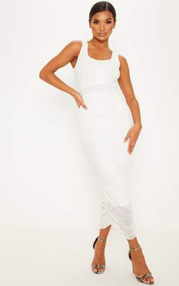 PrettyLittleThing White Mesh Ruched Button Detail Bodycon Dress