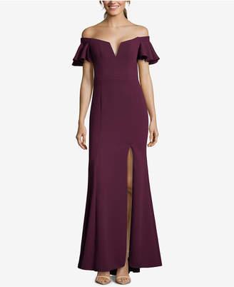 Xscape Evenings Off-The-Shoulder Slit Gown