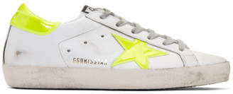 Golden Goose White and Yellow Fluo Superstar Sneakers