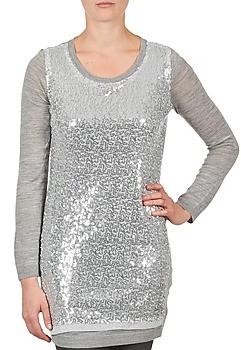 La City PULL SEQUINS women's Tunic dress in Silver