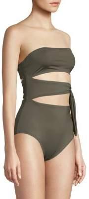 Proenza Schouler One-Piece Cut-Out Bandeau Swimsuit