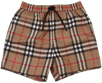 Burberry Check Printed Nylon Swim Shorts