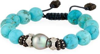 Armenta New World Adjustable Magnesite & Pearl Bracelet