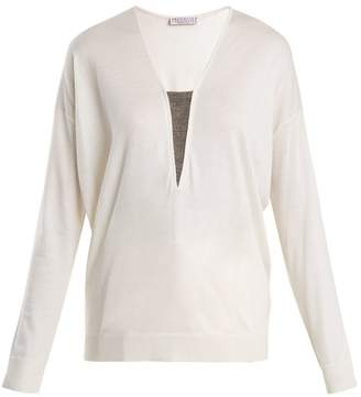 Brunello Cucinelli Bead Embellished Cashmere And Silk Blend Sweater - Womens - Ivory