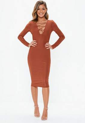 Missguided Rust Slinky Lace Up Long Sleeve Midi Dress, Rust