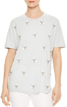 Sandro Twisted Floral-Appliqué Tee