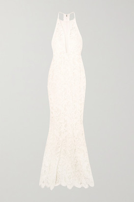 Galvan Positano Tulle-paneled Lace Gown - Ivory