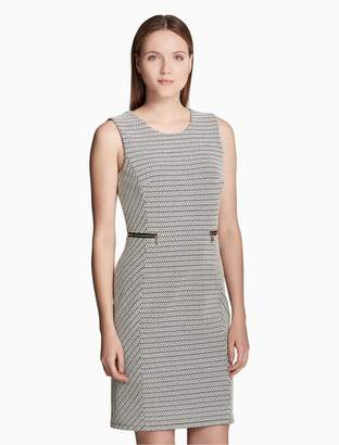 Calvin Klein chevron jacquard zip sheath dress