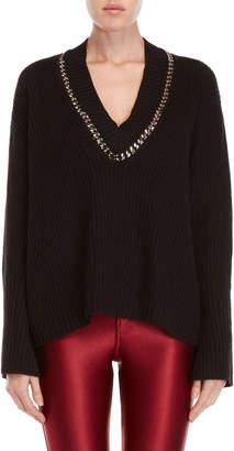 Religion Chain V-Neck Sweater
