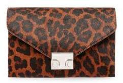 Loeffler Randall Leopard-Print Calf Hair Lock Clutch