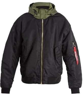 Vetements Contrast Panel Hooded Bomber Jacket - Mens - Black Multi