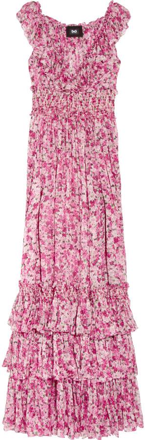 D&G Floral-print silk-chiffon maxi dress