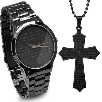 STEELTIME Steeltime Mens Lord's Prayer Black Bracelet Watch-B80-011-W-618-579-P