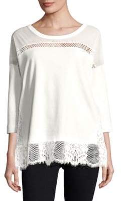 French Connection Delos Core Jersey Lace Top