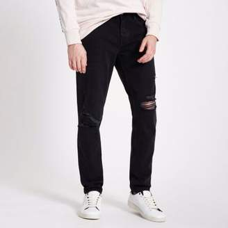 River Island Mens Washed black Jimmy ripped tapered jeans