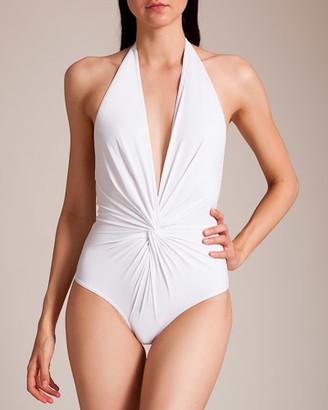 Karla Colletto Basic Plunge Halter Swimsuit