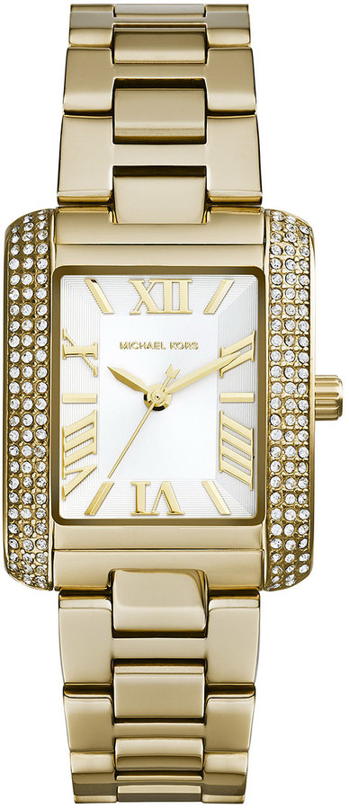 Michael Kors Petite Golden Stainless Steel Emery Three-Hand Glitz Watch