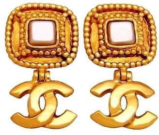 Chanel CC Logo Gold Tone Metal Simulated Glass Pearl Dangle Earrings