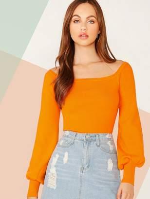 Shein Neon Orange Off Shoulder Crop Sweater