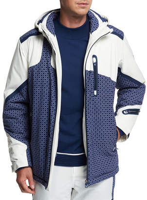 Stefano Ricci Men's Geometric-Pattern Hooded Down Ski Jacket