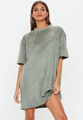 Missguided Khaki Oversized Faux Suede T Shirt Dress