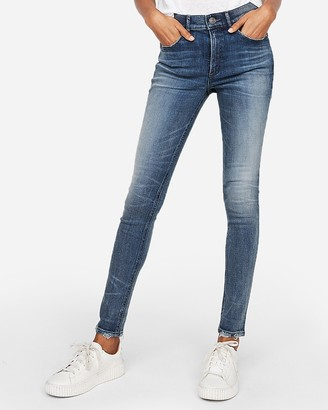 Express High Waisted Medium Wash Denim Perfect Stretch+ Leggings