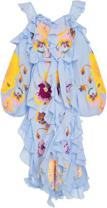 Yuliya Magdych Pansies Ruffle Midi Dress