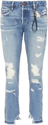 Tortoise Denim 'Savanna' colourblock patch pocket cropped ripped jeans