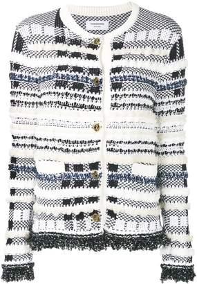 Thom Browne Navy Tweed Crew Neck Jacket