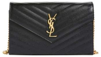 Women's Saint Laurent 'Large Monogram' Quilted Leather Wallet On A Chain - Black