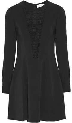 A.L.C. Ware Lace-Paneled Lace-Up Stretch-Crepe Mini Dress