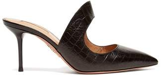 Aquazzura Forever 75 Cut Out Crocodile Effect Leather Mules - Womens - Black