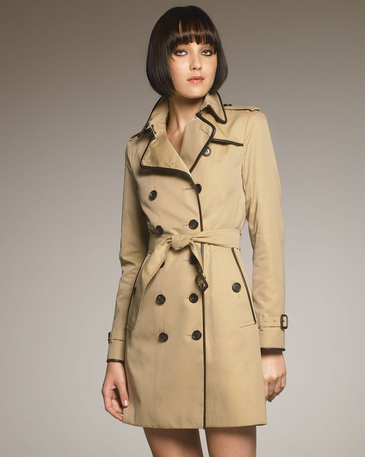Burberry London Leather-Trim Trenchcoat