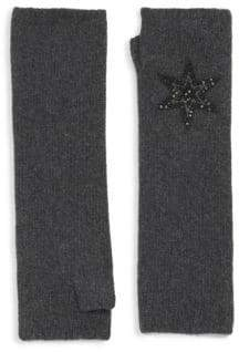 Carolyn Rowan Long Charcoal Cashmere Fingerless Gloves With Leather Star