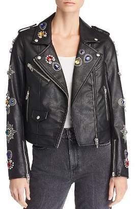 Blank NYC BLANKNYC Embellished Faux Leather Moto Jacket