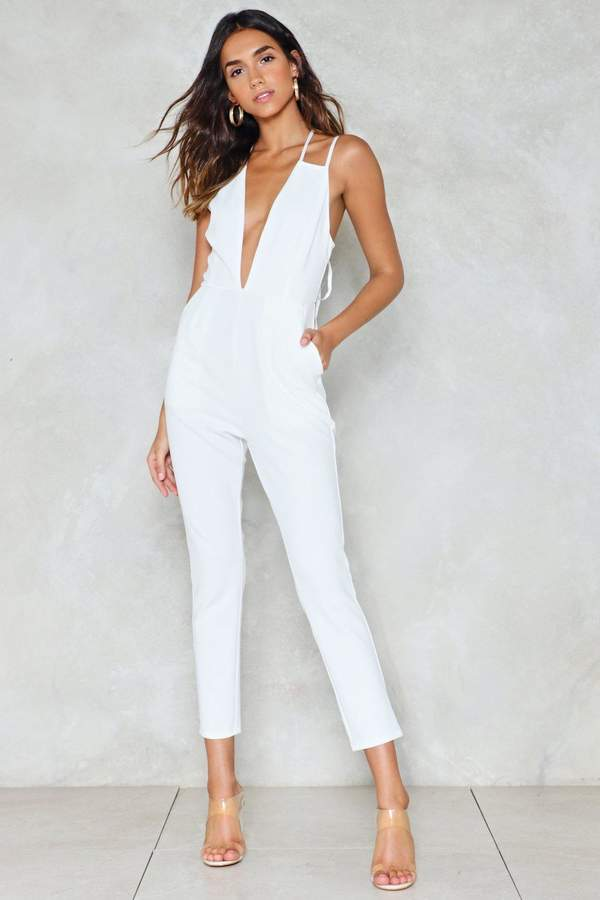 nastygal Strike It Up Plunging Jumpsuit