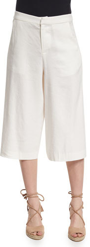Alice + OliviaAlice + Olivia Marlena Low-Rise Linen-Blend Gaucho Pants, Cream