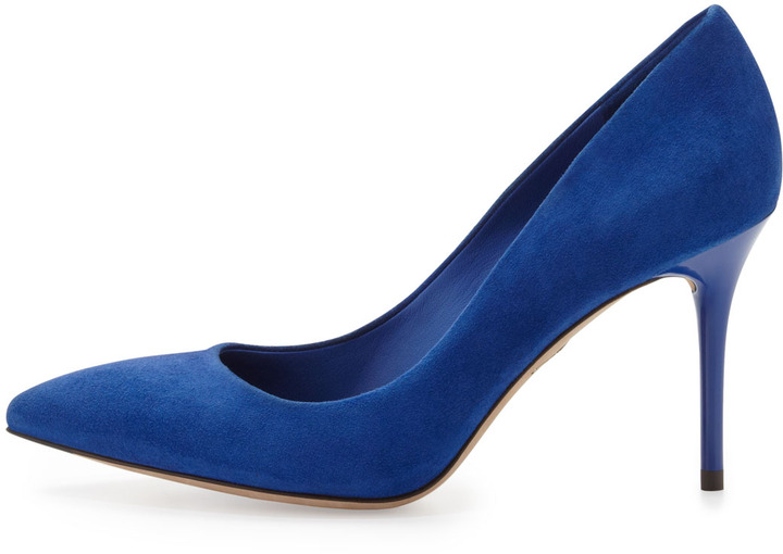 Brian Atwood Malika Suede Pointed-Toe Pump, Majorelle Blue