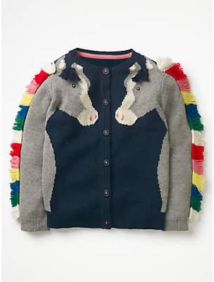 Boden Mini Girls' Fun Horse Cardigan, Navy