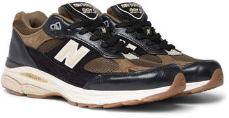 New Balance 991.9 Textured-Leather, Suede and Mesh Sneakers