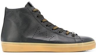 Leather Crown logo hi-top sneakers