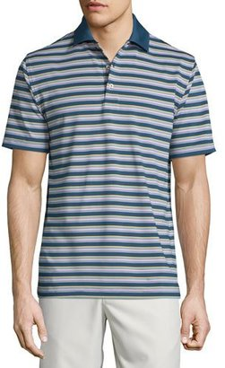 Peter Millar Convention Striped Jersey Short-Sleeve Polo Shirt, Navy $85 thestylecure.com